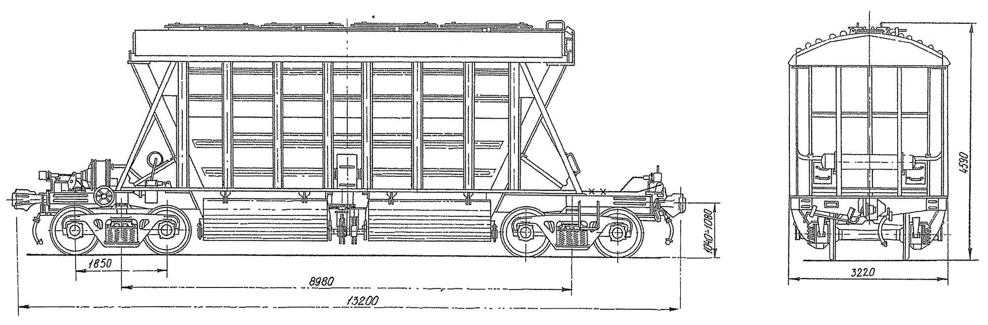 4-осный крытый вагон-хоппер для минеральных удобрений