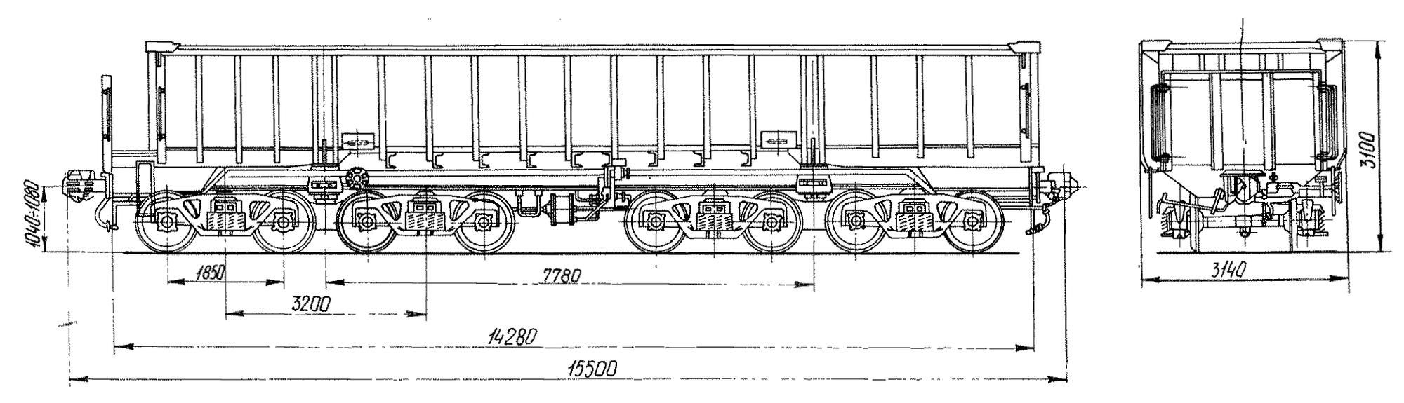 8-осный полувагон с глухим кузовом для медной руды