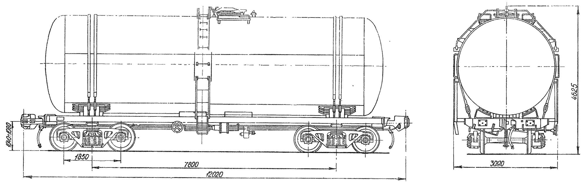 4-осная цистерна для бензина и других светлых нефтепродуктов
