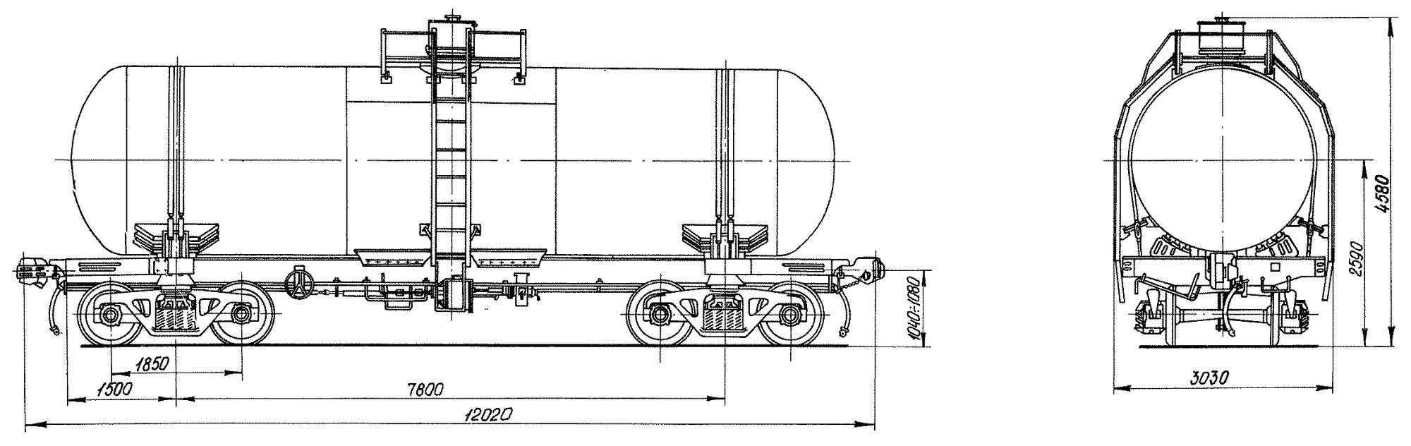 4-осная цистерна для углеводородных газов