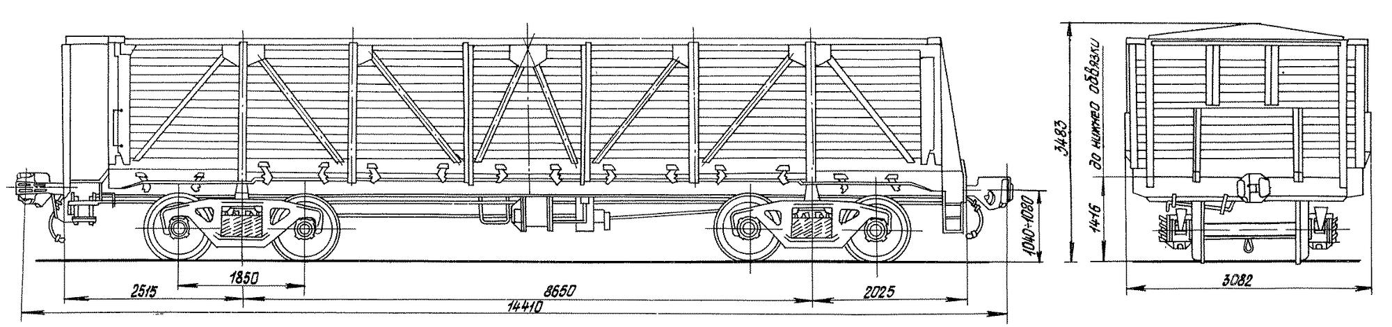 4-осный полувагон, с тормозной площадкой