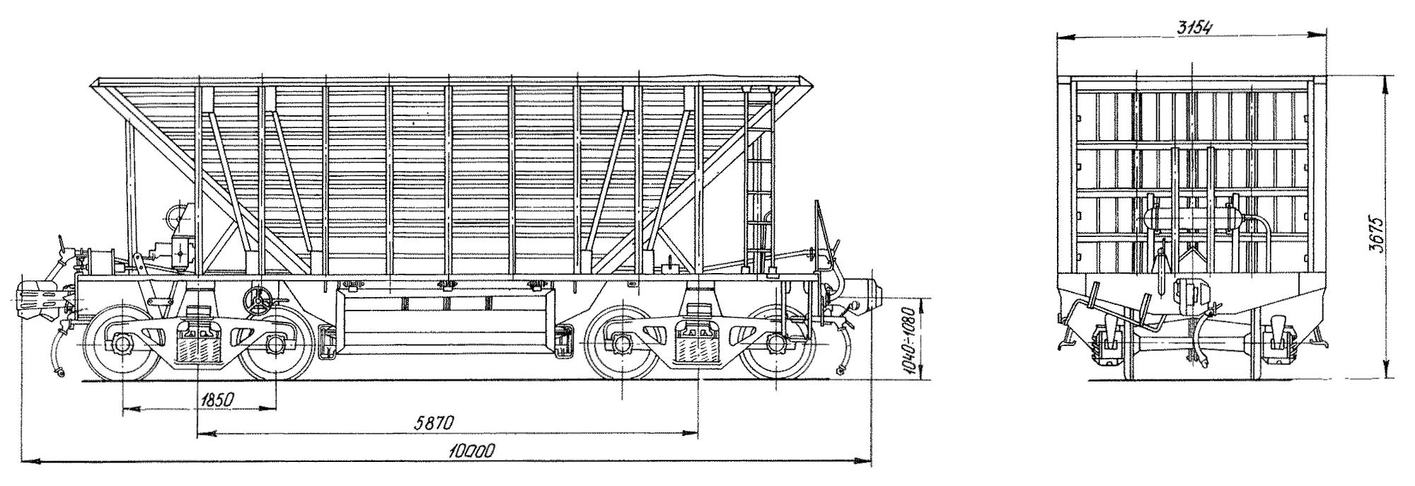 4-осный полувагон-хоппер для горячих окатышей и агломерата