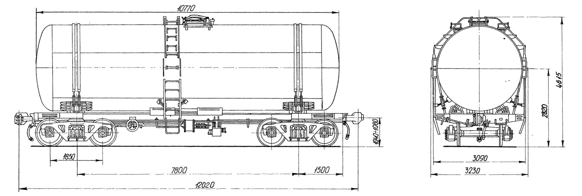 4-осная цистерна для бензина и светлых нефтепродуктов
