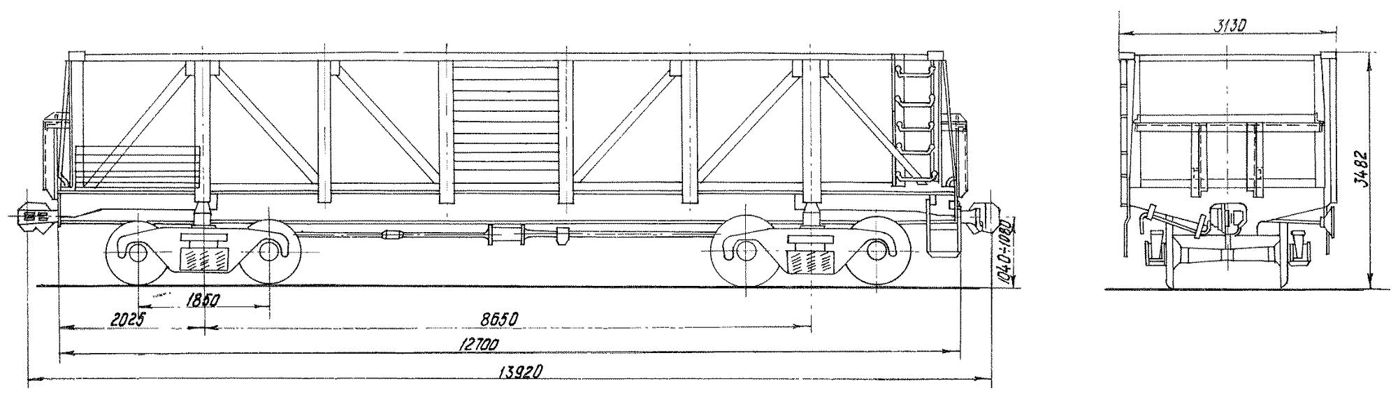 4-осный вагон для среднетоннажных контейнеров на базе полувагона