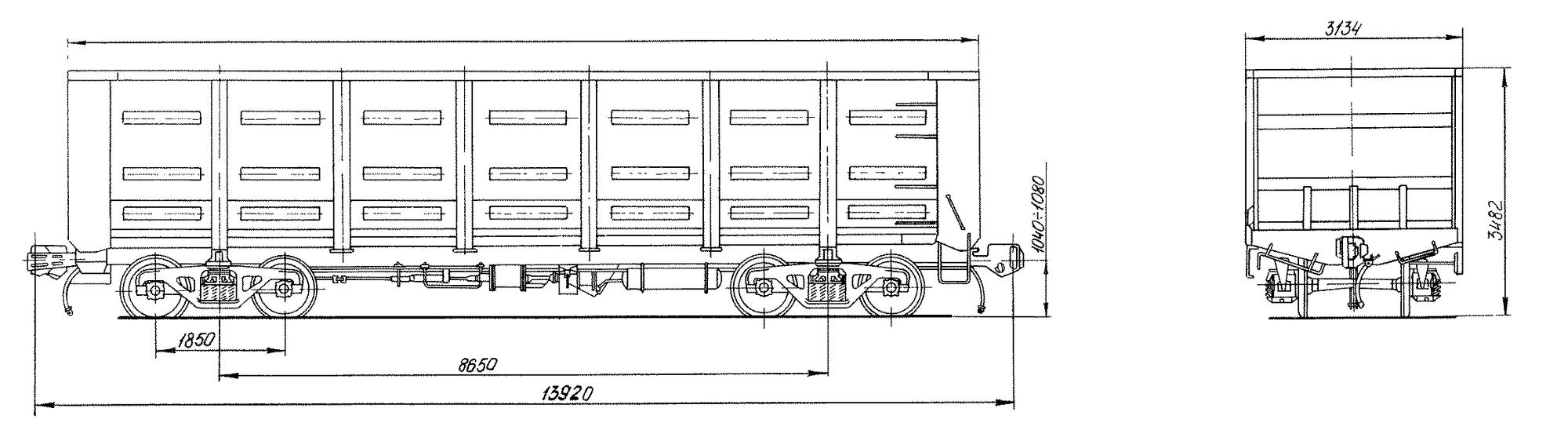 4-осный цельнометаллический полувагон с глухим кузовом