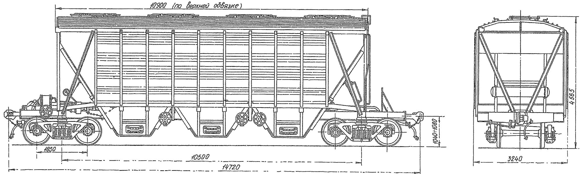 4-осный крытый вагон-хоппер для зерна