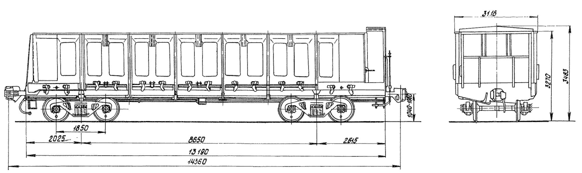 4-осный цельнометаллический полувагон с тормозной площадкой