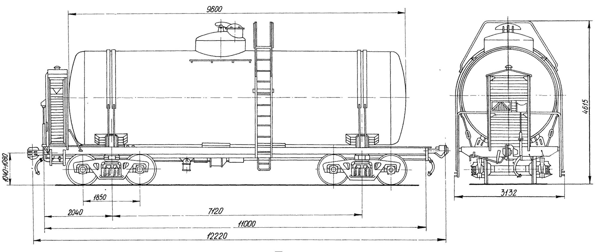 4-осная цистерна для бензина и нефти с объемом котла 50 м3 с тормозной площадкой