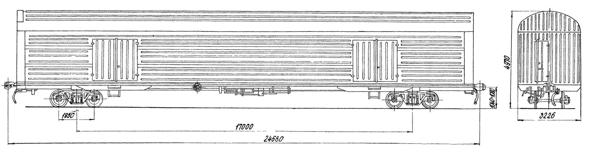 4-осный крытый цельнометаллический вагон для легковых автомобилей