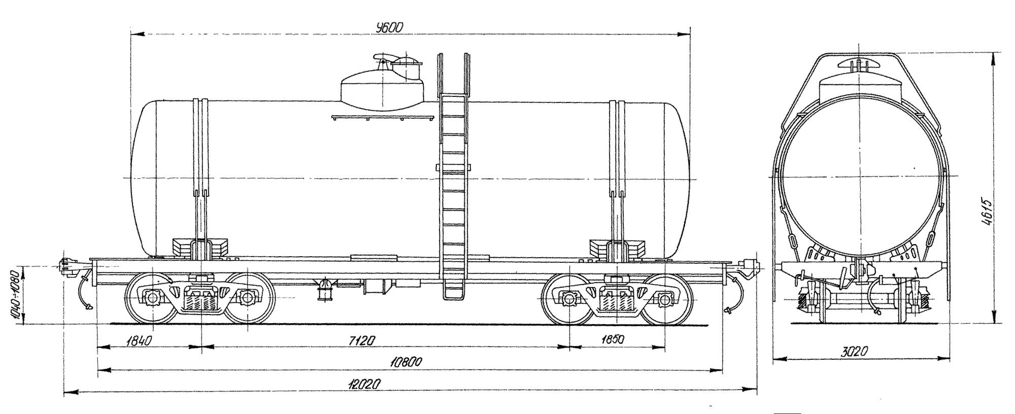 4-осная цистерна для бензина и нефти с объемом котла 50 м3
