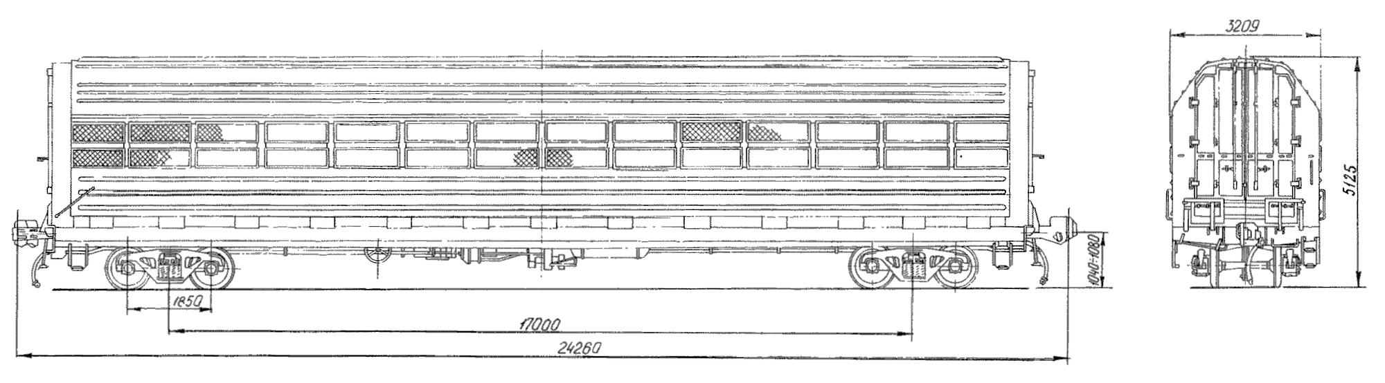 4-осный крытый вагон для легковых автомобилей