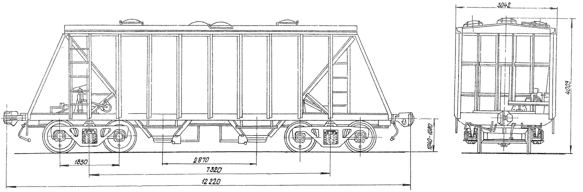 4-осный крытый вагон-хоппер для цемента