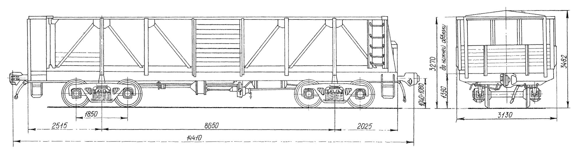 4-осный вагон для среднетоннажных контейнеров на базе полувагона с тормозной площадкой