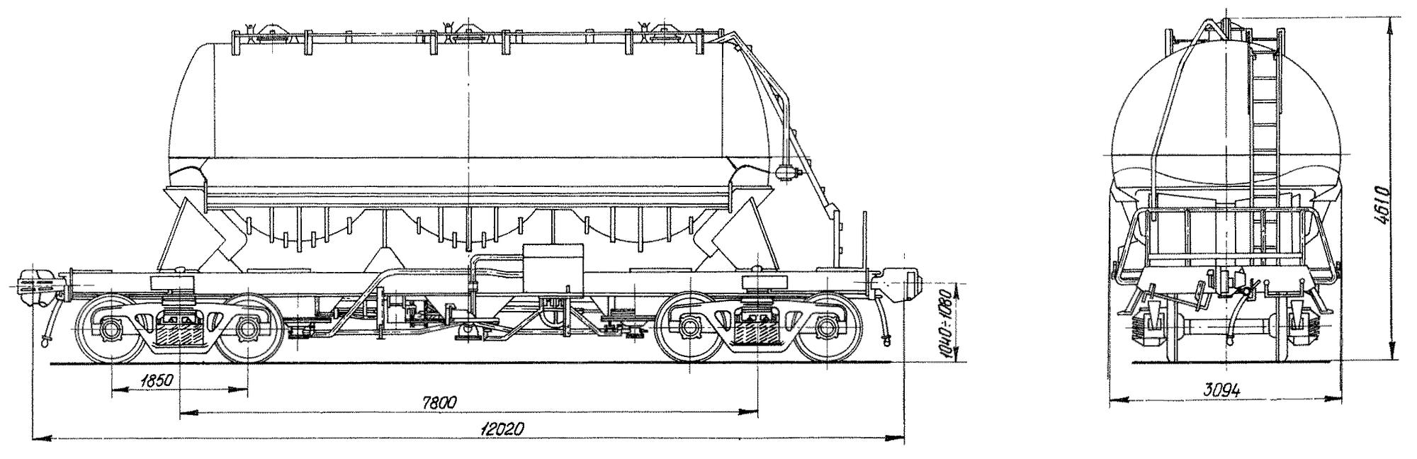 4-осная цистерна для тяжелых порошкообразных грузов