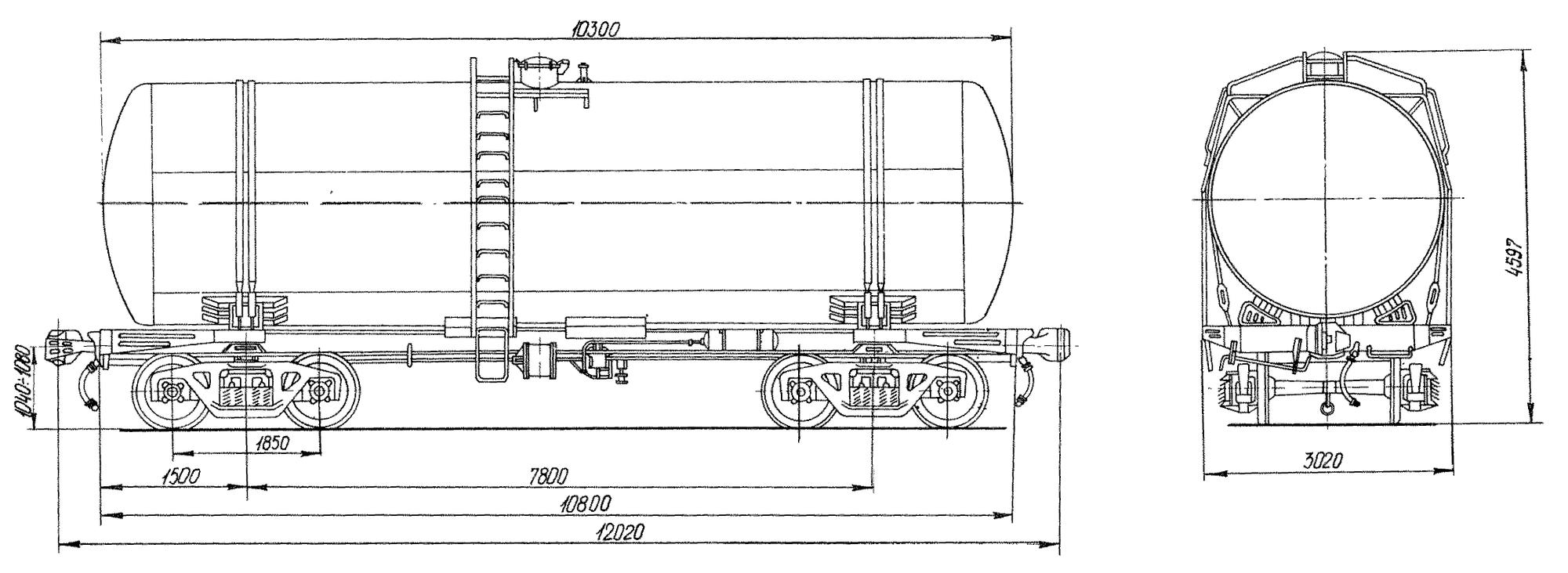 4-осная цистерна для бензина и нефти с объемом котла 60 м3 с тормозной площадкой
