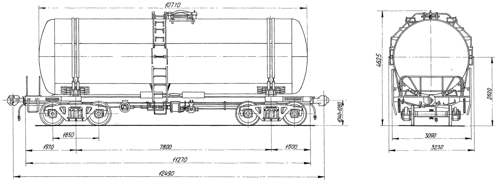4-осная цистерна для бензина с переходной площадкой