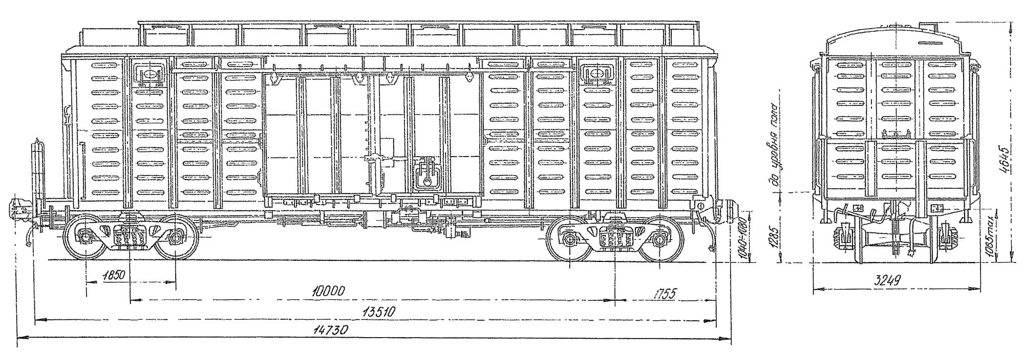 4-осный крытый цельнометаллический вагон с переходной площадкой и уширенными дверными проемами
